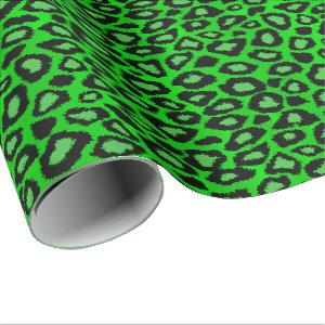 Lime Green Leopard Animal Print Wrapping Paper