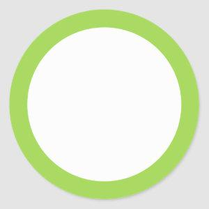 Lime green solid color border blank classic round sticker