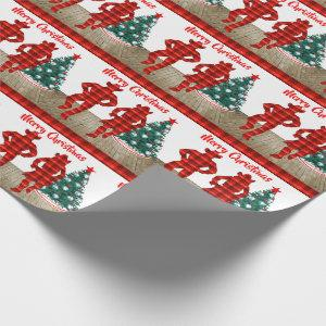 Line  Dancers  With Red Plaid Merry Christmas Wrapping Paper
