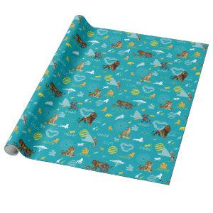 Lion King | Teal Characters & Icons Pattern Wrapping Paper