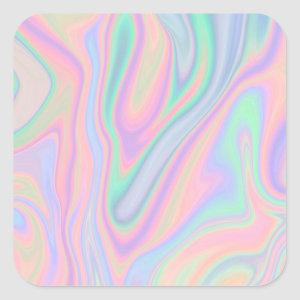 Liquid Colorful Abstract Rainbow Square Sticker