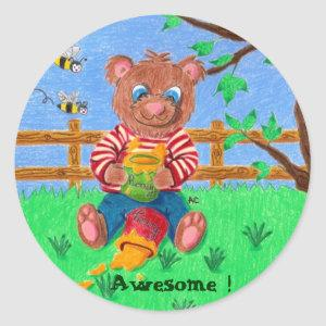 Little bear with honey, Awesome ! Classic Round Sticker