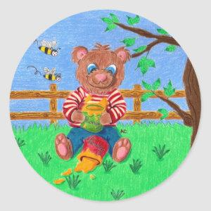 Little bear with honey kids round stickers