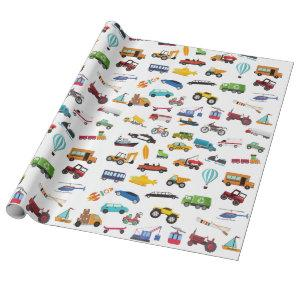 Little Boy Things That Move Vehicle Wrapping Paper
