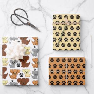 Little Dogs & Paw Print Wrapping Paper Set