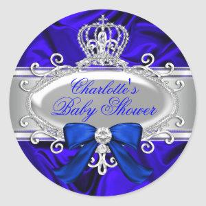 Little Prince Royal Blue Baby Shower Sticker