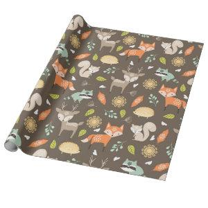 Little Woodland Animals on Brown Background Wrapping Paper