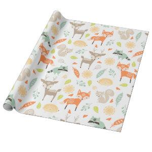Little Woodland Animals on White Background Wrapping Paper