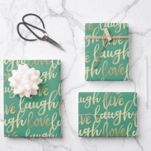 Live Laugh Love Lettering Wrapping Paper Sheets