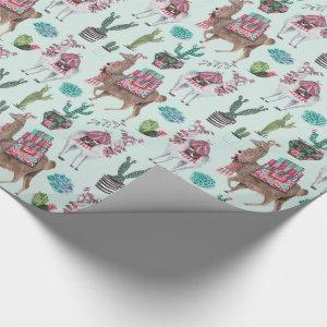 Llama | blue | Wrapping Paper