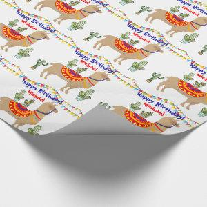 llama Cactus happy birthday wrapping paper