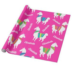 Llama Girls Birthday Custom Name and Color Wrapping Paper