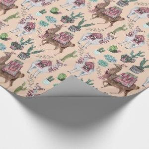Llama | peach | Wrapping Paper