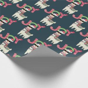 Llama wearing a Santa Hat and Sunglasses Joy Wrapping Paper