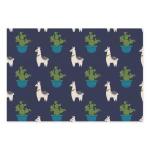 Llamas and Cactus on Navy Wrapping Paper Sheets