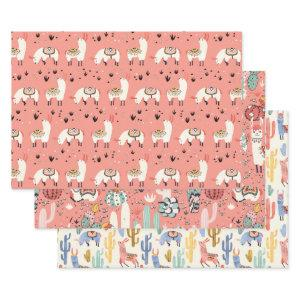 Llamas diversity wrapping paper sheets