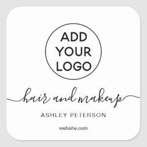 Logo black white simple typography hair makeup square sticker