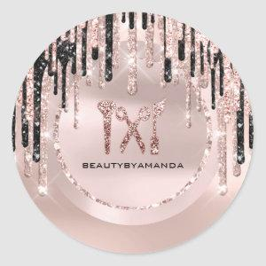 Logo Name Hair Makeup Artist  Drips Rose Glitter Classic Round Sticker