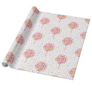 Lollipop Sweet Candy Caramel Drops Pattern Wrapping Paper