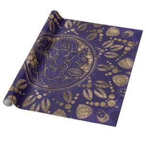 Lord Ganesha Dot Art Purples and Gold Wrapping Paper