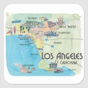 Los Angeles California Vintage Travel Map Square Sticker