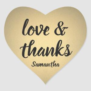 Love and Thanks Black and Gold Faux Foil Thank You Heart Sticker