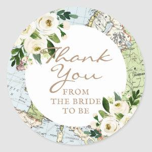 Love Around The World Floral Map Favor Label