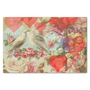 Love birds vintage antique heart love tissue paper