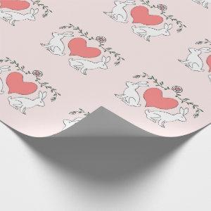 Love Bunny & Hearts Print Wrapping Paper - Pink