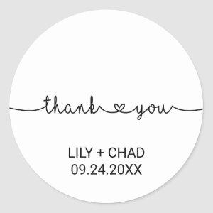 Love Hearts Thank You Wedding Favor Classic Round Sticker
