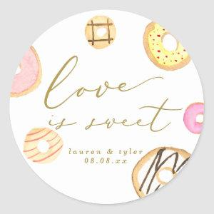 Love is sweet Watercolor Donuts Wedding Favor Classic Round Sticker