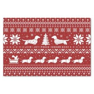 Love Joy Peace Wiener Dogs | Dachshunds Christmas Tissue Paper