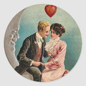 Love on the Moon Classic Round Sticker