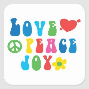 Love Peace Joy Square Stickers, Glossy Square Sticker