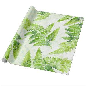 Lovely Green Fern Botanical Watercolor Pattern Wrapping Paper