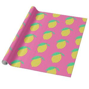 Lovely Lemons Fruity Fun Yellow Pink Green Wrapping Paper