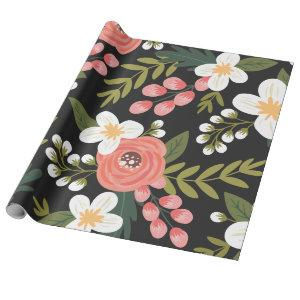Lush Folksy Florals in Black and Pink Wrapping Paper