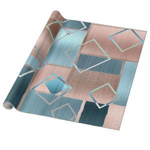 Luxe Abstract | Blush Rose Gold and Teal Geometric Wrapping Paper