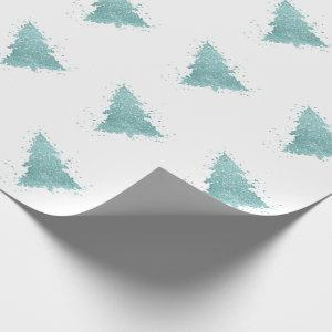 Luxe Christmas Trees | Elegant Turquoise Glitter Wrapping Paper