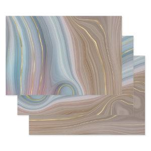 Luxe Strata | Dusty Slate Blue Taupe Pink Agate  Sheets