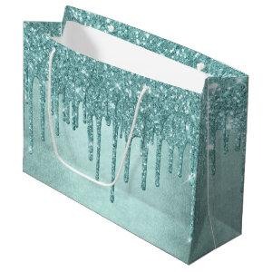 Luxurious Drip Party | Turquoise Blue Glitter Pour Large Gift Bag