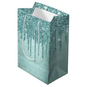 Luxurious Drip Party | Turquoise Blue Glitter Pour Medium Gift Bag
