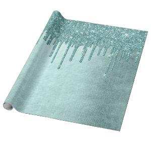 Luxurious Drip Party   Turquoise Blue Glitter Pour Wrapping Paper