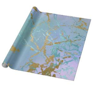 Luxurious Party | Marble Mint Green Purple Gold Wrapping Paper