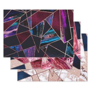 Luxurious Rose Gold Liquid Paint Marble Geometric Wrapping Paper Sheets