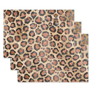 Luxury Chic Gold Black Brown Leopard Animal Print Wrapping Paper Sheets