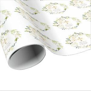 Luxury Delicate White Flowers Gold Cross Baptism Wrapping Paper
