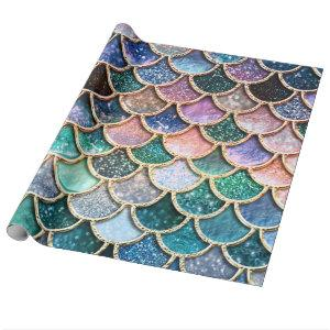 Luxury multicolor Glitter Mermaid Scales Wrapping Paper