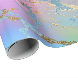 Luxury Ombre Blue Pink Purple Marble Wrapping Paper