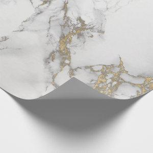 Luxury White Gold Gray Carrara Marble Stone VIP Wrapping Paper